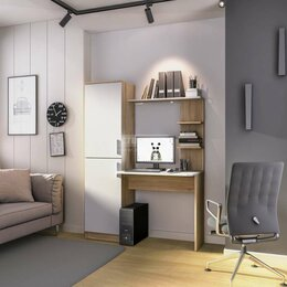 Стеллажи и этажерки - Тесса СБ-2737 Стеллаж со столом Дуб Сонома/Белый, 0