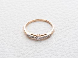 Кольца и перстни - Кольцо с 9 фианитами из красного золота, 0