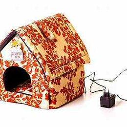 Лежаки, домики, спальные места - Лежанка с подогревом для кошек и собак Будка оранж, 0