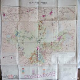 Гравюры, литографии, карты - Карта землепользований Лужский Район, 0