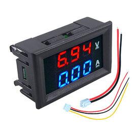 Товары для электромонтажа - Цифровой вольтметр + амперметр в монтажной рамке, 0
