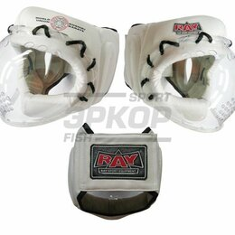 Шлемы - Шлем для карате на шнуровке Рэй-Спорт кожа белая (х2), 0