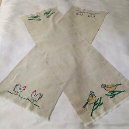 Полотенца - Полотенце льняное с ручной вышивкой /детское/кухонное, 0