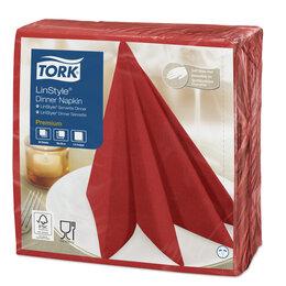 Скатерти и салфетки - Салфетки нетканые сервировочные Tork LinStyle 39*39см, красные, 50шт. 478854 ..., 0