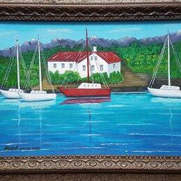 """Картины, постеры, гобелены, панно - Картина """"Яхты у причала"""" 40х30мм с багетом, акрил, холст, 0"""