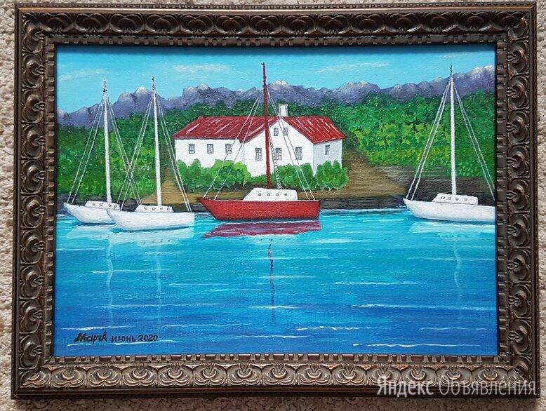 """Картина """"Яхты у причала"""" 40х30мм с багетом, акрил, холст по цене 1500₽ - Картины, постеры, гобелены, панно, фото 0"""