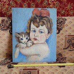 Картины, постеры, гобелены, панно - Старинная картина на холсте 1950-е годы., 0