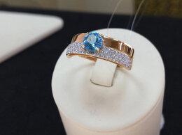 Кольца и перстни - Золотое кольцо с Топазом и Фианитами, размер 19,5, 0