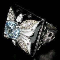 Кольца и перстни - Кольцо ,,Бабочка, из серебра с топазом., 0