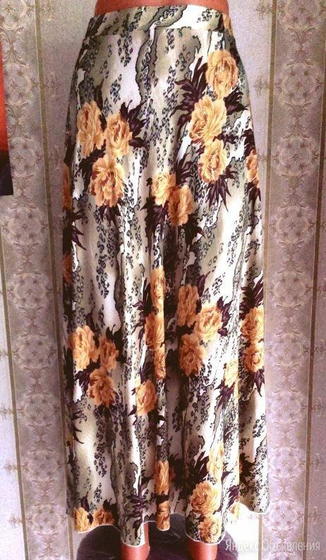 Длинная летняя юбка с цветочным рисунком, р.42-46 по цене 500₽ - Юбки, фото 0