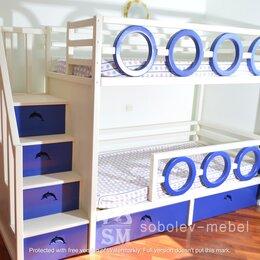 Кроватки - Двухъярусная кровать с лесенкой комодом в морском стиле, 0