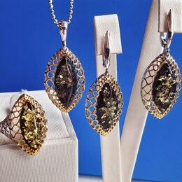 Комплекты - Серебряный комплект с натуральным зеленым янтарем, 0