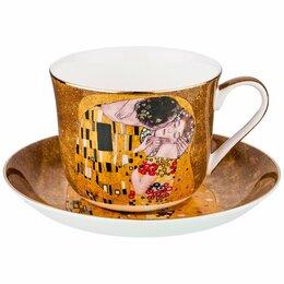 """Кружки, блюдца и пары - Чайная чашка с блюдцем золотые """"Поцелуй. Г. Климт"""", 0"""