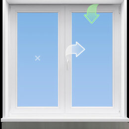 Окна - Двухстворчатое пластиковое окно Хрущёвка под ключ., 0