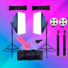 Фотовспышки - Софтбоксы 2шт+стойки 2шт+сумка фото-видео свет E27, 0