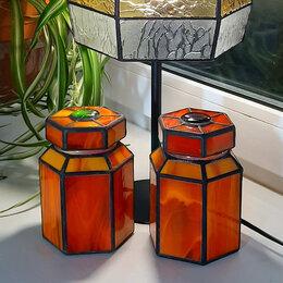 Ёмкости для хранения - Комплект из двух витражных банок для чая и кофе., 0