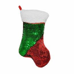 Новогодний декор и аксессуары - Нинбо Носок рождественский с пайетками 35*16*25 см, 0