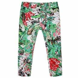 Брюки - Детские брюки из хлопка с цветочным мотивом, 0