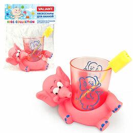 Мыльницы, стаканы и дозаторы - Валиант СЛОНИКИ Подставка со стаканом для зубных щеток VAL KC-E-TH, 0