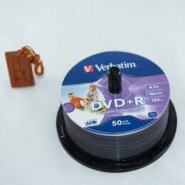 Диски - Диск DVD+R Verbatim 4,7GB 16x, 36/50шт., Cake Box InkJet Printable, 0
