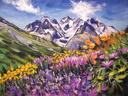 Картины, постеры, гобелены, панно - Яркое лето. Пейзаж. Гуашь, луг, горы, картина, 0