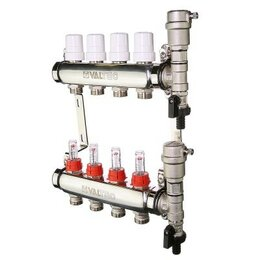 Коллекторы - Коллектор для теплого пола на 10 контуров с расх Valtec VTc.589.EMNX.0610, 0