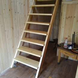 Лестницы и элементы лестниц - Деревянные лестницы для бани, летнего домика, гаража, 0