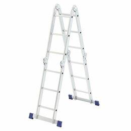 Лестницы и стремянки - Лестница шарнирная алюминиевая 4х3 ступеней, 0