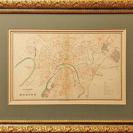 Гравюры, литографии, карты - 1878 год. Редкий старинный план Москвы в современном обрамлении R0824, 0