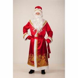 Карнавальные и театральные костюмы - Костюм взрослый Дед Мороз сатин красный пейзаж золото, 0