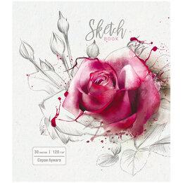 """Рисование - Скетчбук-блокнот 30л А5 на гребне ПЗБМ """"Роза на…, 0"""