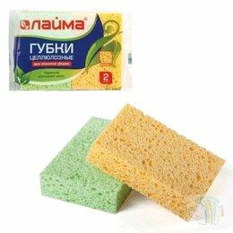 Тряпки, щетки, губки - Губка для мытья посуды ЛАЙМА, 2 шт, целлюлозные…, 0