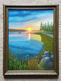 """Картины, постеры, гобелены, панно - Картина """"Закат у озера"""" 35х45см, масло, холст на…, 0"""