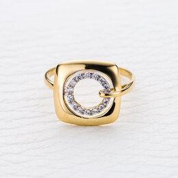 Кольца и перстни - Кольцо с 14 фианитами из жёлтого золота, 0