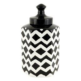 Вазы - Ваза керамическая черно-белая с крышкой 27 см…, 0
