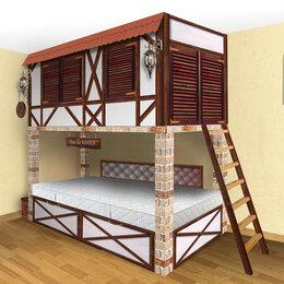 Кроватки - Детская двухярусная кровать-дом с игровой комнатой, 0