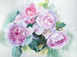 Картины, постеры, гобелены, панно - Пионовидные розы. Акварель, букет,…, 0