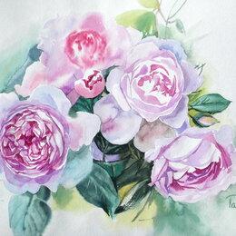 Картины, постеры, гобелены, панно - Пионовидные розы. Акварель, букет, пионы,розовый,сиреневый,цветы,картина, 0