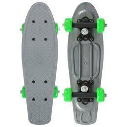 Скейтборды и лонгборды - Пенниборд 42 х 12 см, колеса PVC 50 мм, пластиковая рама, цвет серый, 0