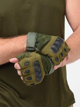 Перчатки и варежки - Перчатки беспалые, тактические OKLAI олива, 0