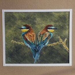 Картины, постеры, гобелены, панно - Золотистые щурки. Сухая пастель,гуашь. Птица,картина, 0