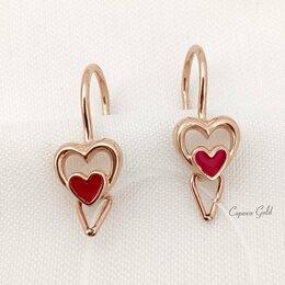 Украшения для девочек - Золотые детские серьги с красной эмалью Сердца SOKOLOV 029208, 0