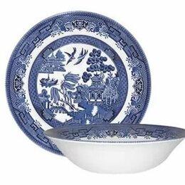 "Блюда, салатники и соусники - Салатник бело-голубой 24 см  ""Голубая ива"", 0"