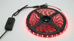 Светодиодные ленты - Светодиодная лента красная на черном фоне 5 метров, 0