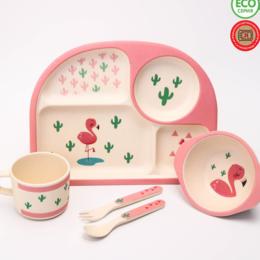 """Бокалы и стаканы - Набор бамбуковой посуды """"Фламинго"""", тарелка,…, 0"""