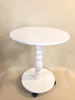Столы и столики - Столик журнальный белый на колесиках, 0