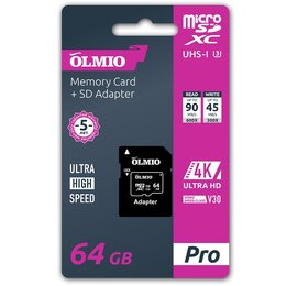 Карты памяти - Карта памяти OLMIO microSDXC 64GB V30, UHS-I Class 3 (U3), с адаптером, 0