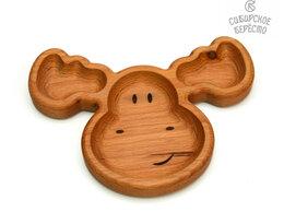 Тарелки - Тарелка деревянная с животным Лось, 0