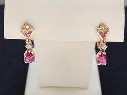 Серьги - Золотые серьги с розовыми Фианитами, проба 585°, 0