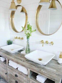 Тумбы - Тумба для ванной комнаты из массива дерева , 0